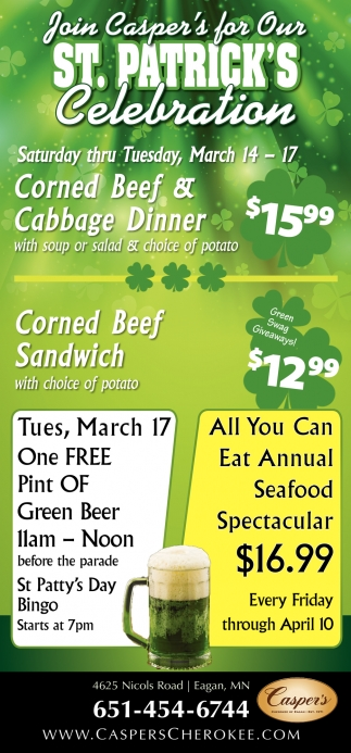 Join Casper's for Our St. Patrick's Celebration