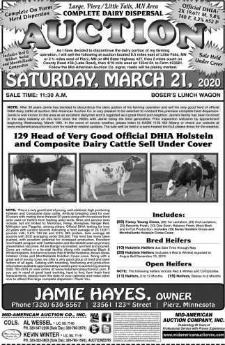 Complete Dairy Dispersal Auction