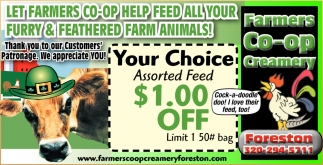 Let Farmers Co-Op Help Feed All Your Furry & Feathered Farm Animals!