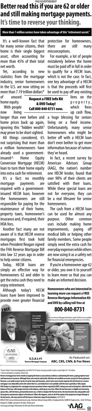 Better Read this if You are 62 or Older and Still Making Mortgage Payments