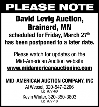 David Levig Auction Scheduled for Friday, March 27th has Been Postponed to a Later Date