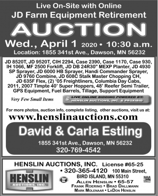 JD Farm Equipment Retirement Auction (April 1, 2020)