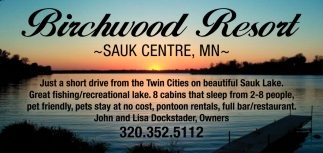 Just a Short Drive from the Twin Cities on Beautiful Sauk Lake