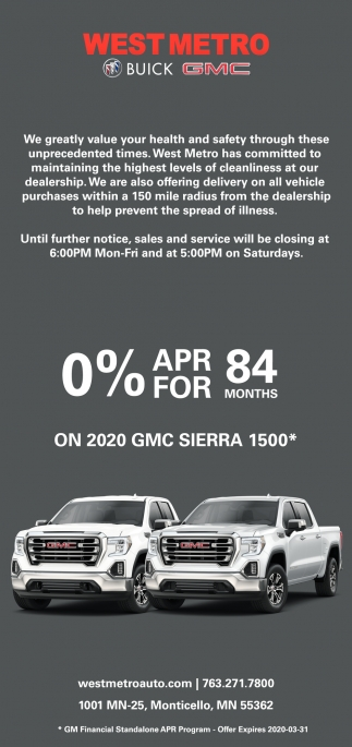 0% APR for 84 Months On 2020GMC Sierra 1500