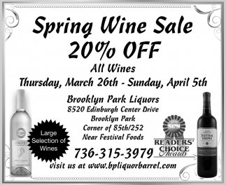 Spring Wine Sale 20% OFF