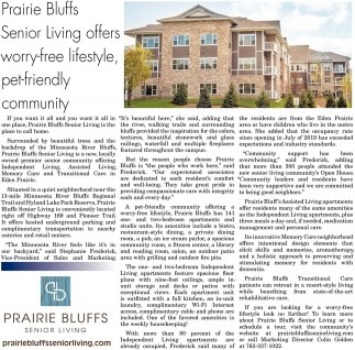 Prairie Bluffs Senior Living Offers Worry-Free Lifestyle, Pet-Friendly Community