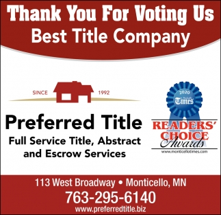 Thank You for Voting Us Best Title Company