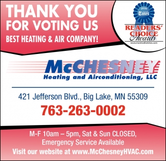 Thank You for Voting Us Best Heating & Air Company!