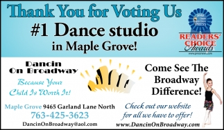 Thank You for Voting Us #1 Dance Studio in Maple Grove!