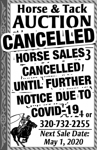 Horse & Tack Auction Cancelled
