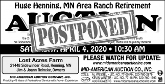 Huge Henning, MN Area Ranch Retirement Auction Postponed
