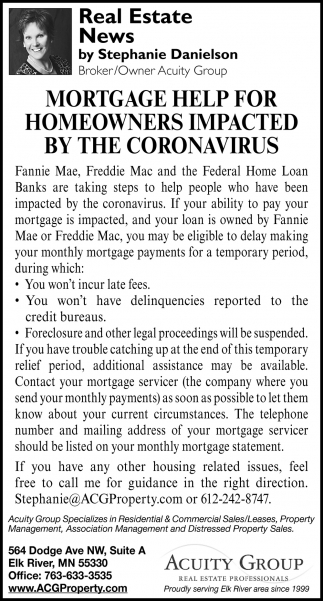 Mortgage Help for Homeowners Impacted by the Coronavirus
