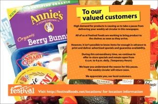 To Our Valued Customers