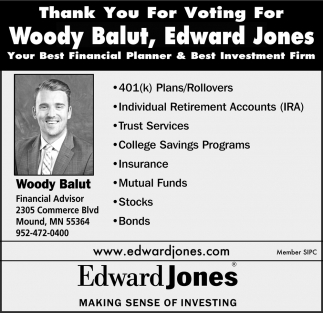 Thank You for Voting for Woody Balut, Edward Jones Your Best Financial Planner & Best Investment Firm