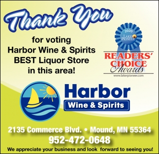 Thank You for Voting Harbor Wine & Spirits Best Liquor Store in this Area!