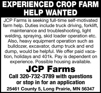 Experienced Crop Farm Help Wanted