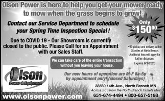 Contact Our Service Department to Schedule Your Spring Time Inspection Special!