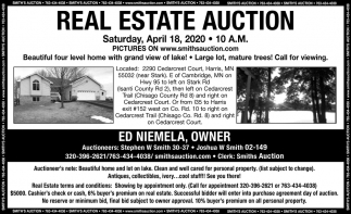 Real Estate Auction Saturday, April 18, 2020
