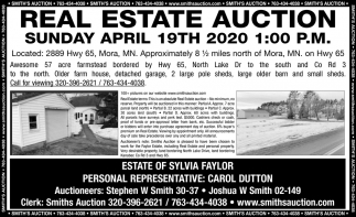 Real Estate Auction Sunday, April 19th, 2020