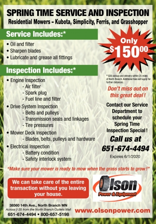 Spring Time Service & Inspection
