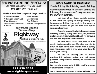 Spring Painting Specials!