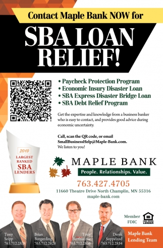 contact Maple Bank Now for SBA Loan Relief!