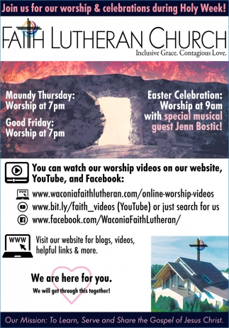 Join Us for Our Worship & Celebrations During Holy Week!