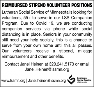 Reimbursed Stipend Volunteer Positions