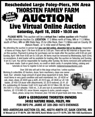Rescheduled Large Foley-Pierz, MN Area Thorsten Family Farm Auction