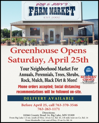 Greenhouse Opens Saturday, April 25th