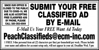 Submit Your FREE Classified Ad by E-Mail