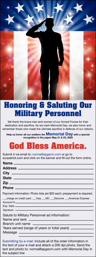 Honoring & Saluting Our Military Personnel