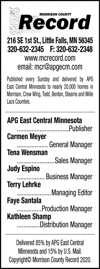 Published Every Sunday and Delivered by APG East Central Minnesota