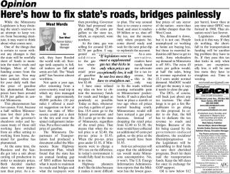 Here's How to Fix State's Roads, Bridges Painlessly