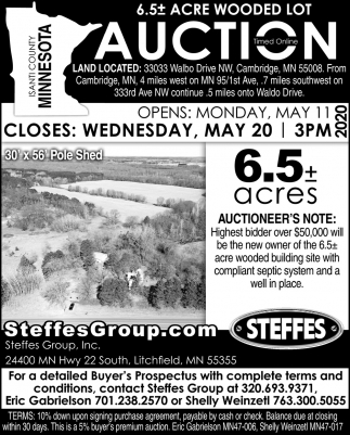 6.5 Acre Wooded Lot Auction