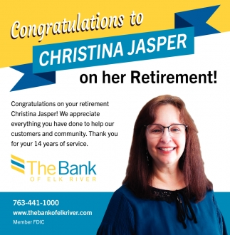 Congratulations to Christina Jasper On Her Retirement!