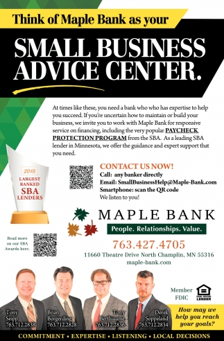 Think of Maple Bank as Your Small Business Advice Center