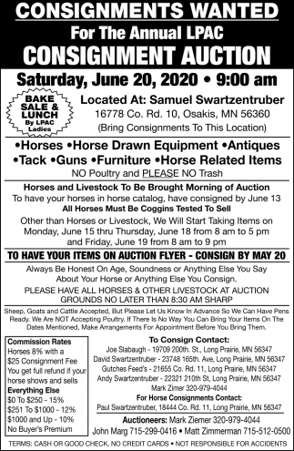 Consignments Wanted for the Annual LPAC Consignment Auction