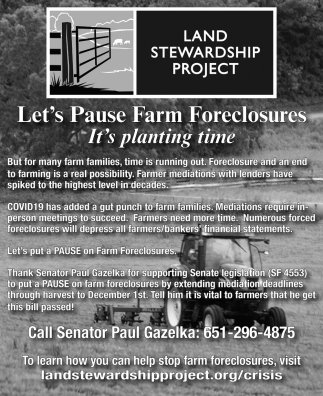 Let's Pause Farm Foreclosures