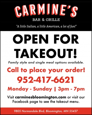 Open for Takeout!