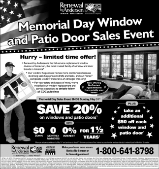 Memorial Day Window and Patio Door Sales Event