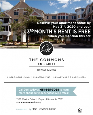 Reserve Your Apartment Home by May 31st. 2020 and Your 3rd Month's Rent is FREE When You Mention this Ad!