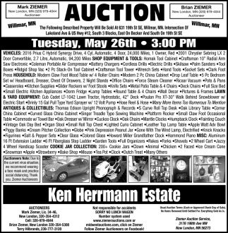 Auction Tuesday, May 26th