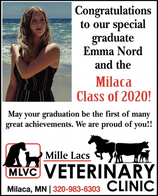 Congratulations to Our Special Graduate Emma Nord and the Milaca Class of 2020!