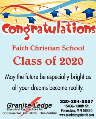 Congratulations Faith Christian School Class of 2020