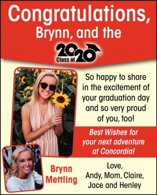 Congratulations, Brynn and the Class of 2020