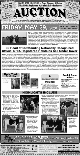 Official DHIA Registered Holstein & Dairy Equipment Auction