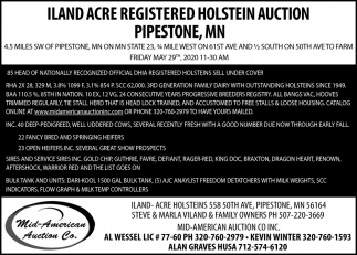 ILAND Acre Registered Holstein Auction