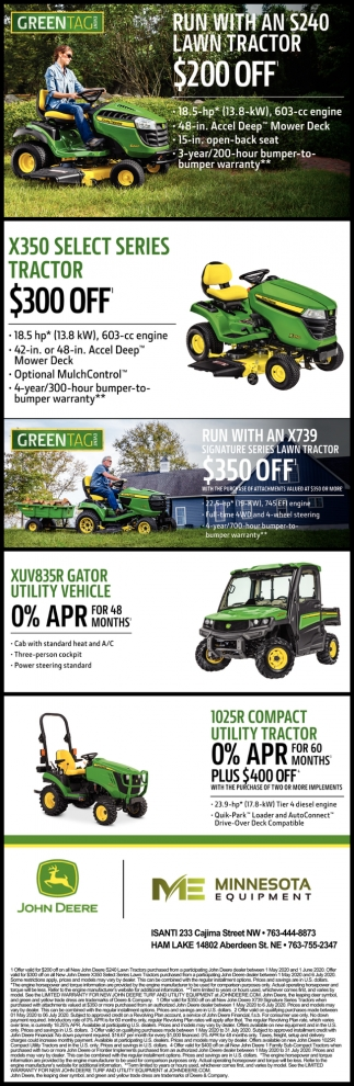 Run with An S240 Lawn Tractor $200 OFF