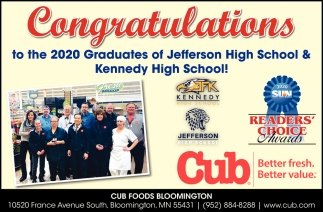 Congratulations to the 2020 Graduates of Jefferson High School & Kennedy High School!